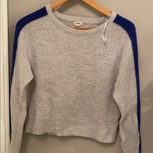 Soft gray and blue sweater